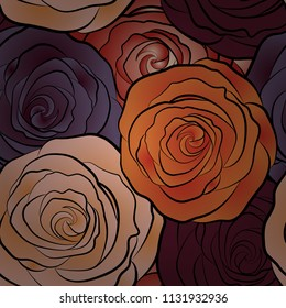 Vector seamless pattern with stylized beige, purple and orange roses. Square composition with abstrct vintage roses.