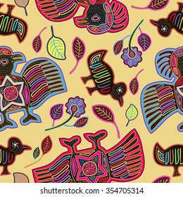 Vector Seamless Pattern  with Stylized Birds in Mola Style. Ancient National Background. Vector Illustration.
