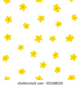 Vector seamless pattern of stylized floral motif, many small flowers, hole, spots on white background. Hand drawn small yellow flowers. Seamless floral background in yellow colors.