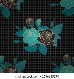 Vector seamless pattern with stylized gray, black and blue roses. Square composition with abstrct vintage roses.