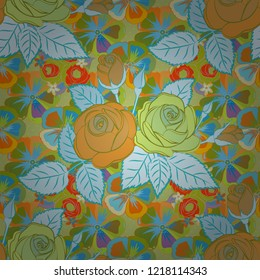 Vector seamless pattern with stylized green, blue and orange roses. Square composition with abstrct vintage roses.
