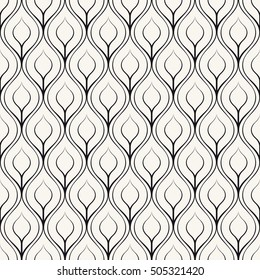 Vector seamless pattern with stylized peacock feather. Monochrome elegant background