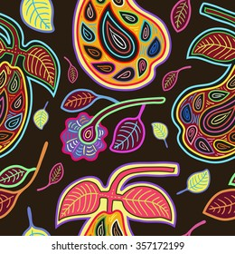 Vector Seamless Pattern  with Stylized Pears, Flowers and Leaves in Mola Style. Ancient National Background. Vector Illustration.