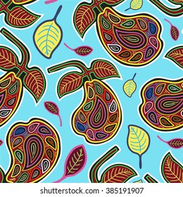 Vector Seamless Pattern with Stylized Pears and Leaves on Blue Background. MOLA Style. Ancient National Background. Vector Illustration