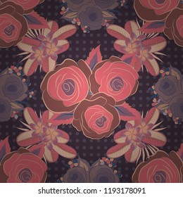 Vector seamless pattern with stylized purple, beige and pink roses. Square composition with abstrct vintage roses.