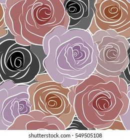 Vector seamless pattern with stylized purple and red roses. Square composition with abstrct vintage roses.