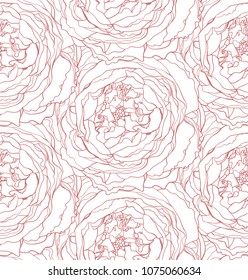 Vector seamless pattern stylized rink rose line