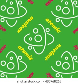 Vector seamless pattern of stylized thin flat icons depicting the atomic nucleus. For covers, wallpaper, wrapper.
