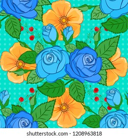 Vector seamless pattern with stylized yellow, blue and green roses. Square composition with abstrct vintage roses and green leaves.
