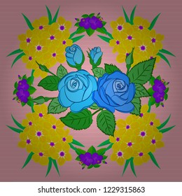 Vector seamless pattern with stylized yellow, green and blue roses. Square composition with abstrct vintage roses and green leaves.