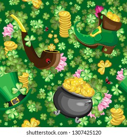 Vector seamless pattern of subjects for St. Patrick's day.