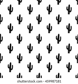 Vector seamless pattern with succulent cactus. Hand-drawn black and white background.