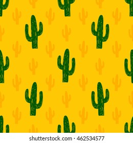 Vector seamless pattern with succulent cactus. Hand-drawn background.