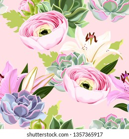 Vector seamless pattern with succulent and flower