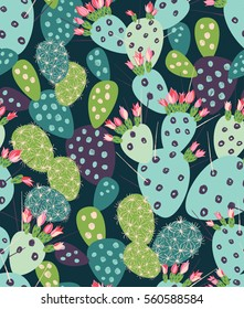 Vector seamless pattern with succulents and cactuses with inky texture. Trendy tropical design for textile