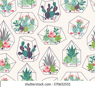 Vector seamless pattern with succulents and cactuses with inky texture in glass terrariums. Trendy tropical design for textile