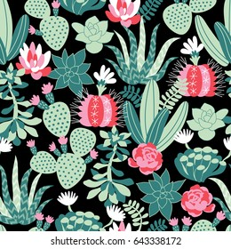 Vector seamless pattern with succulents and cactuses in Scandinavian style. Trendy tropical design for textile