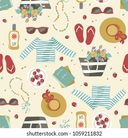 Vector seamless pattern of summer clothes and accessories such as hat, beach bag, step-ins, sunglasses, books and sunblock. Hand drawn illustrations.
