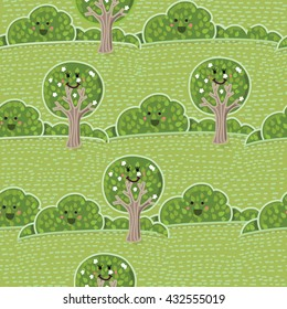 Vector seamless pattern of summer landscape pattern with cute smiling trees and bushes