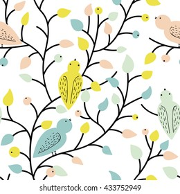 Vector seamless pattern. Summer mood. Plants and Birds. Cute colors