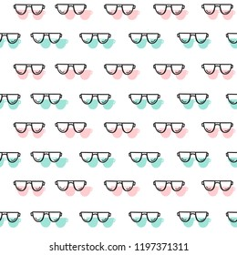 Vector seamless pattern with sunglasses. Bright summer background. eps 10