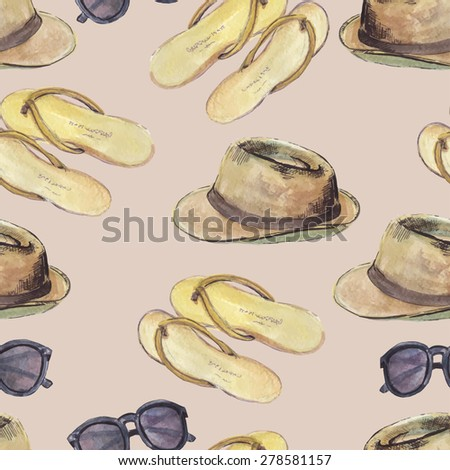 Vector seamless pattern with  sunglasses, flip flops and hat.