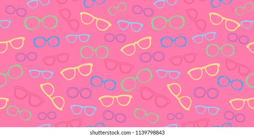 Vector seamless pattern with sunglasses. Summer print. Vector illustration. Modern design for the fabric.