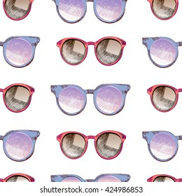 Vector seamless pattern of sunglasses. Trendy hipster peach sunglases, serenity and rose quartz round glasses, wifier. Summer protection accessory.