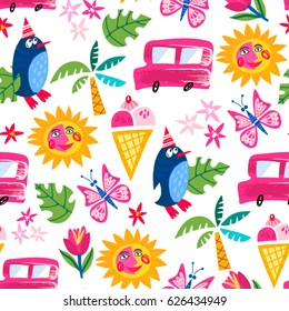 Vector seamless pattern of sunny summer ice cream mood, penguin wearing funny hat, smiling sun, butterfly and Ice cream van.
