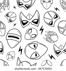 vector seamless pattern of super hero masks in linear style