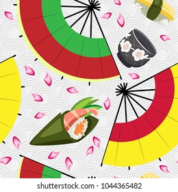 Vector seamless pattern of sushi, cup for sake and fans on a Japanese background