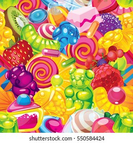 vector seamless pattern of sweets and fruits. bears, jelly candies, lollypops, fruit and berries. birthday party wrapping paper
