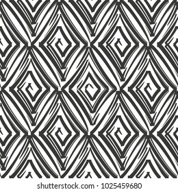 Vector seamless pattern with swirling rhombuses.Modern stylish texture.Black and white