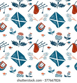 Vector seamless pattern with symbols of Scotland