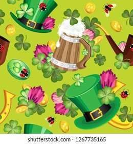 Vector seamless pattern the symbols of St. Patrick's Day. On a light green background