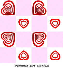 Vector seamless pattern with Target with the shape of an heart.