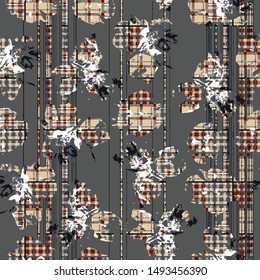 Vector seamless pattern tartan design. Creative background with stripes, flowers and watercolor effect. Textile print for bed linen, jacket, package design, fabric and fashion concepts.