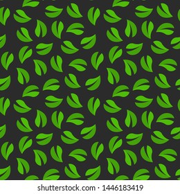 Vector seamless pattern with tea leaves on dark background. Wallpaper for website, cafe or textile.