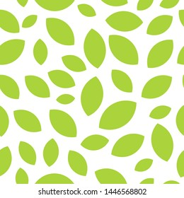 Vector seamless pattern with tea leaves on white background for website, cafe or textile with a mood of summer nature.