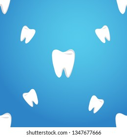 Vector seamless pattern with teeth on a blue background. The pattern of teeth.