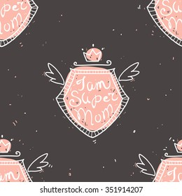 Vector seamless pattern with text I am super mom in retro vintage style for your design