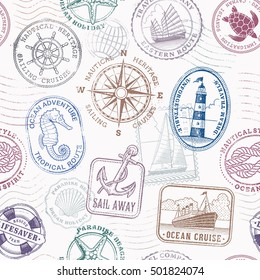 Vector Seamless pattern texture composed of original vintage illustrations of nautical and sea objects and concepts