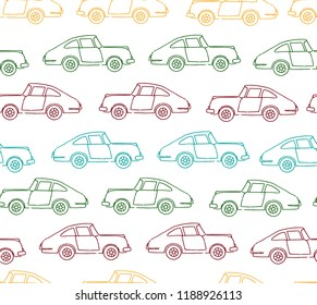 Vector seamless pattern of textured retro cars. Vector repeat background of vintage colored transport isolated on white background. Cartoon style endless illustration of old means of transport