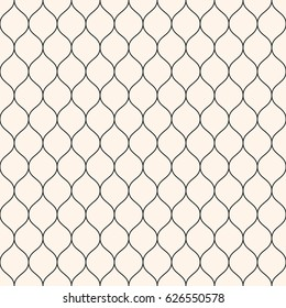 Vector seamless pattern, thin wavy lines. Texture of mesh, fishnet, lace, weaving, smooth grid, subtle lattice. Simple monochrome geometric background. Design for prints, decor, fabric, furniture, web