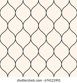 Vector seamless pattern, thin wavy lines. Texture of mesh, fishnet, lace, weaving, smooth grid. Subtle monochrome geometric background. Design element for prints, decor, fabric, furniture, web, covers
