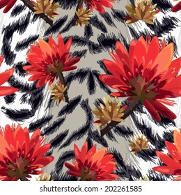 vector seamless  pattern -tiger skin with tropical flowers