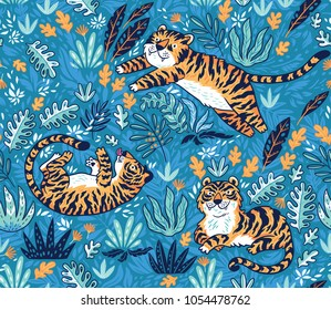 Vector seamless pattern with tigers. Blue garden background with cartoon orange tigers. Creative illustration for kids design, wallpaper, wrapping, textile, package design.
