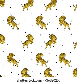 Vector seamless pattern with tigers and circles isolated on the white background. Animal background for fabric or wallpaper boho design.
