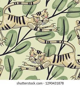 vector seamless pattern with tigers and leaves