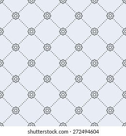 Vector seamless pattern. Tiled square background with monochrome gear icon and dotted lines.